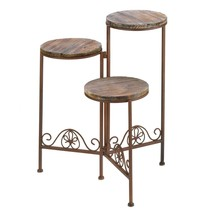 Tall Planter Stand, Rustic Triple Outdoor Garden Large Metal Large Planter - $53.99