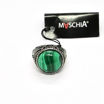 Silver Ring 925 Burnished with Malachite and Marcasite Made in Italy by Maschia image 2