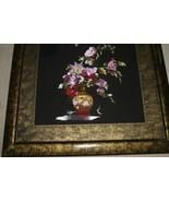 Huge Hmong Silk Needle Embroidery Masterpiece Art Custom Framed Peonies ... - $854.99