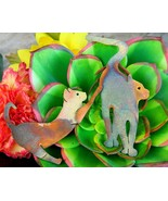 Vintage Pair Cats Brooch Pin Anodized Cut Metal Steel Handmade Figural - $39.95