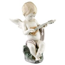"""Lladro #1231 """"Angel with Lute"""" Angel Baby Playing Lute on Rock Retired! - $237.60"""