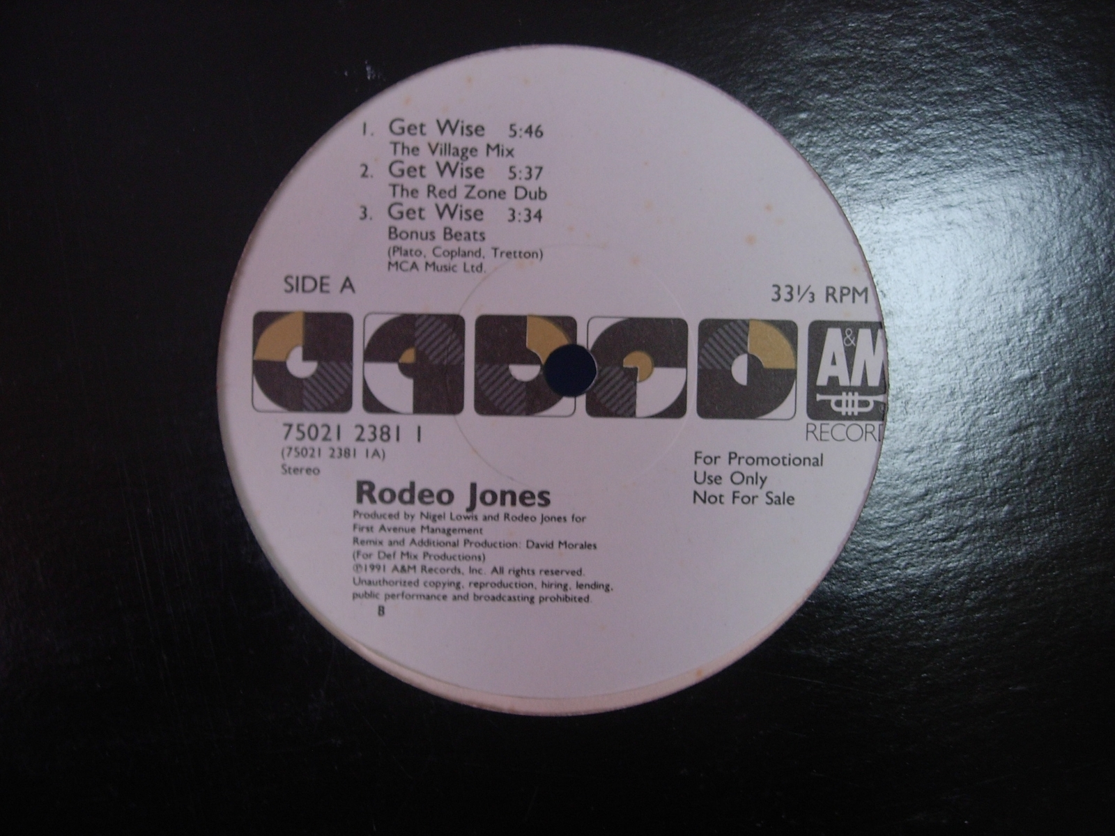 Rodeo Jones - Get Wise - A&M 75021 2381 - Promo