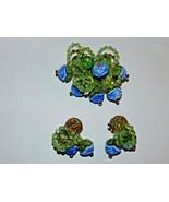 Hattie Carnegie Rhinestone Bead Flower Brooch Clip Earrings Blue, Green,... - $119.99