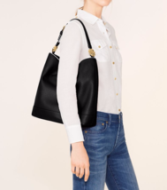 NWT Tory Burch Duet Leather Hobo / Shoulder Bag in Black/ New Ivory  $450 - $329.00