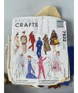 McCall's Crafts 7932 Barbie Doll Clothing Pattern W/Pre-Cut Vintage Fabr... - $33.47