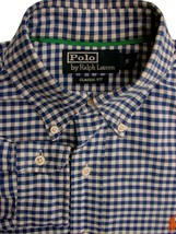 RALPH LAUREN POLO Shirt Mens 15 S Blue & White Gingham Check CLASSIC FIT - $34.78