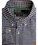 ffd930282d RALPH LAUREN POLO Shirt Mens 15 S Blue & White Gingham Check CLASSIC  FIT -