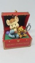 Mouse bear treasure in chest Christmas Ornament High Progress Ltd 1994 w defects - $15.83