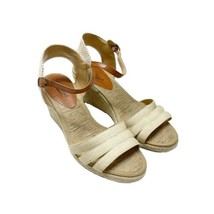 LUCKY BRAND Kalley Espadrille Wedge Sandals Sz 8.5 Cream Adjustable Ankle Strap - $32.71