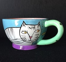 Happy Dog and Cat Mug Tea Cup Karen Gelff Chalelur Feline Cat Kitten Design - $11.87