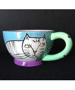 Happy Dog and Cat Mug Tea Cup Karen Gelff Chalelur Feline Cat Kitten Design - $11.87