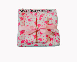 Pink Elephants Blanket & Burp Cloths Baby Shower Gift Set, Pink Baby Bla... - $20.00