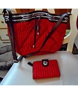 Vera Bradley Hobo shoulder bag and wallet in Red and White Seaport Stripe   - $45.00