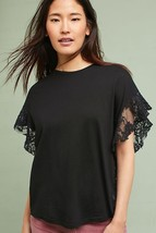New Anthropologie Adriano Goldschmied Black Sofi Floral Lace Tee $128 Small - $41.58