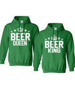 Couple Hoodie Beer King And Queen Matching St Patrick's Party Tops - $49.94