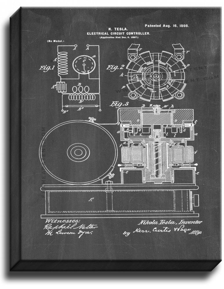 Primary image for Electrical Circuit Controller Patent Print Chalkboard on Canvas