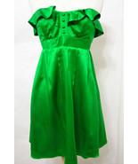 BETSEY JOHNSON Dress 100% Silk Emerald Green Strapless Stretch Panel 4 - $179.99
