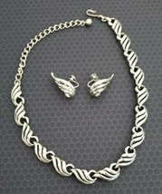 Lovely Vintage Charel? Silver Choker Necklace & Screwback Earings - SILV... - $18.04