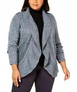 Karen Scott Women's Sweater Plus Cocoon Open Front Cardigan Blue 2X - $26.99