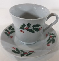 Set of 2 Christmas Cups & Saucers Holly Leaves & Berries - $22.76