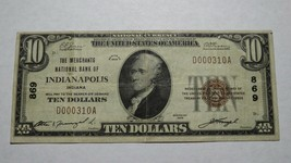 $10 1929 Indianapolis Indiana IN National Currency Bank Note Bill Ch. #8... - $112.19