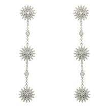 Pave Star Burst Signity CZ Sterling Silver Celebrity Drop Dangle Earrings 72mm - $79.99
