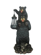 Bear And Cub Playful Outdoor Statue with Solar Lantern By DWK | Patio An... - $74.22