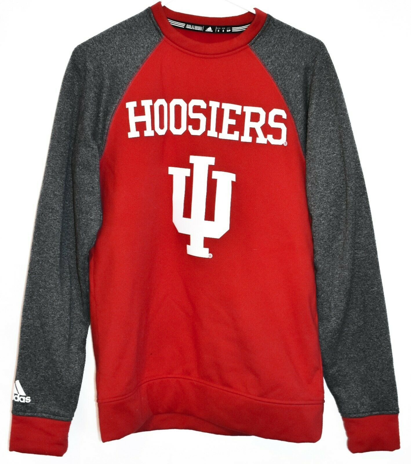 adidas Climawarm Indiana University Hoosiers Red & Gray Crew Sweatshirt Size S