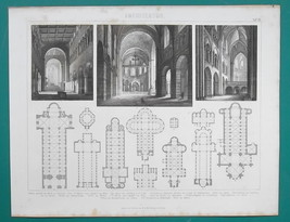 ARCHITECTURE Romanesque Germany Mainz Koln Limburg Worms - 1870s Antique... - $16.20