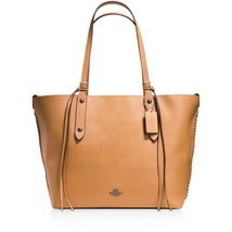 NWT COACH PEBBLED LEATHER WHIPLASH DETAIL MARKET TOTE TAN LIGHT SADDLE - $317.34
