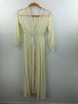 Vtg Miss Elaine Satin Robe Womens Small 5 Petite Off White Lace Sheer A2... - $19.29