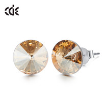 CDE 925 Sterling Silver Earrings Embellished with crystals from Swarovski Round  - $22.43