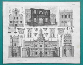ARCHITECTURE Italy 15th C Naples Venice Pavia Paris - 1844 Superb Print - $19.80