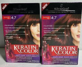 (2) Schwarzkopf Keratin Color Anti-Age Hair Color New 4.7 - Bordeaux Red - $32.04