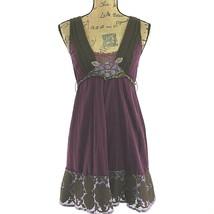 Free People 4 Sm Dress Long Top Purple Brown Embroider Sweater Trim Bead Boho  - $18.37