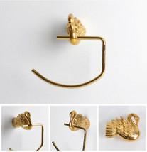 Bathroom Accessories Bath Hardware Set Golden Color Swan TOWEL RING - $90.09