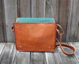 Genuine Vintage Leather Shoulder Bag Messenger man hand bag crossbody bag - $54.45