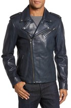 Asymmetric Front Notched Collar Men Genuine Leather Jacket Slim fit Biker jacket