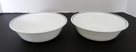 Colonial Mist Corelle by Corning Coupe Cereal Bowls White with Blue Band... - $12.75