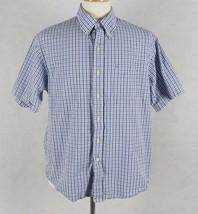 IZOD Mens Short Sleeve Blue Check Shirt Size Large - $15.83