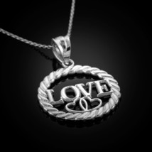 Sterling Silver Love Hearts in Circle Rope Pendant Necklace - €18,02 EUR+