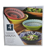 "Mikasa Marrakesh Bowls 4-Piece Stoneware 9"" Colorful Bright Moroccan Sty... - $34.82"