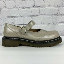 Doc Martens Womens Size 8 Mary Janes Beige Pewter Iridescent Buckle Strap - $70.11
