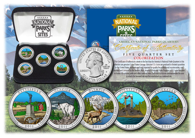 2011 USA Colorized National Parks quarters 5 Coins Set With Gift Box