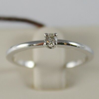18K WHITE GOLD SOLITAIRE WEDDING BAND THIN STEM RING DIAMOND 0.07 MADE IN ITALY