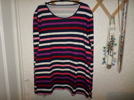 Talbots Cotton Colorful Stripe Tee Top Nwt Misses L - $20.00