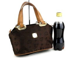 Authentic MCM Brown Nylon & Leather Hand Made Mini Hand Bag 161004 Germa... - $137.61