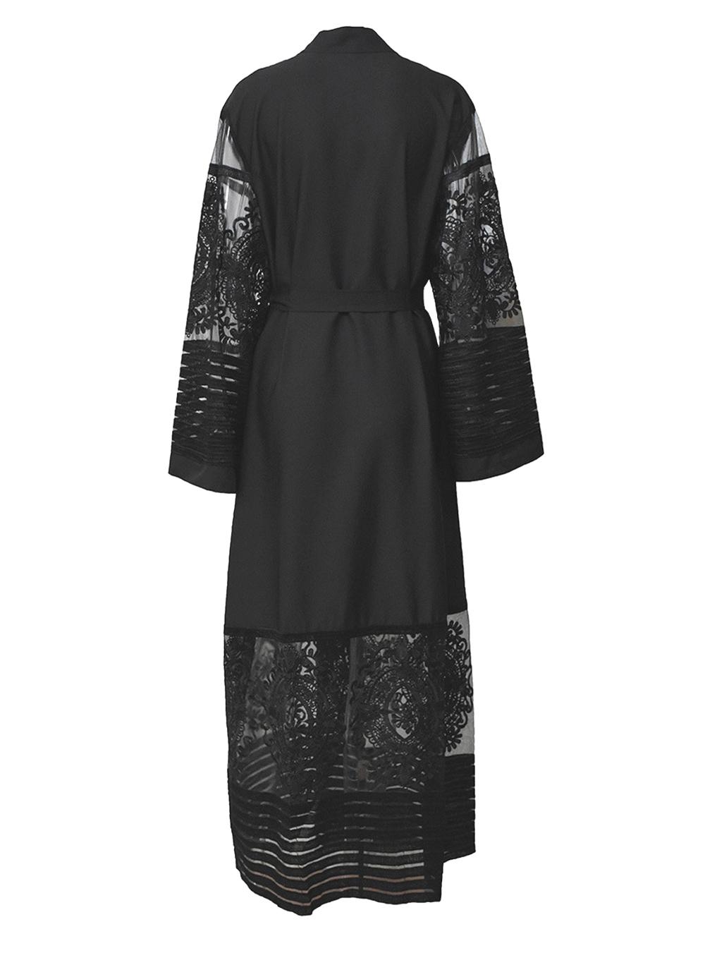 Women Embroidered Boho Long Sleeve Kimono Wrap Lace Maxi Dress Abaya -pld73