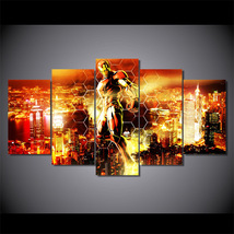 5 Pcs Iron Man Flying In The Air Home Decor Wall Picture Printed Canvas ... - $45.99+