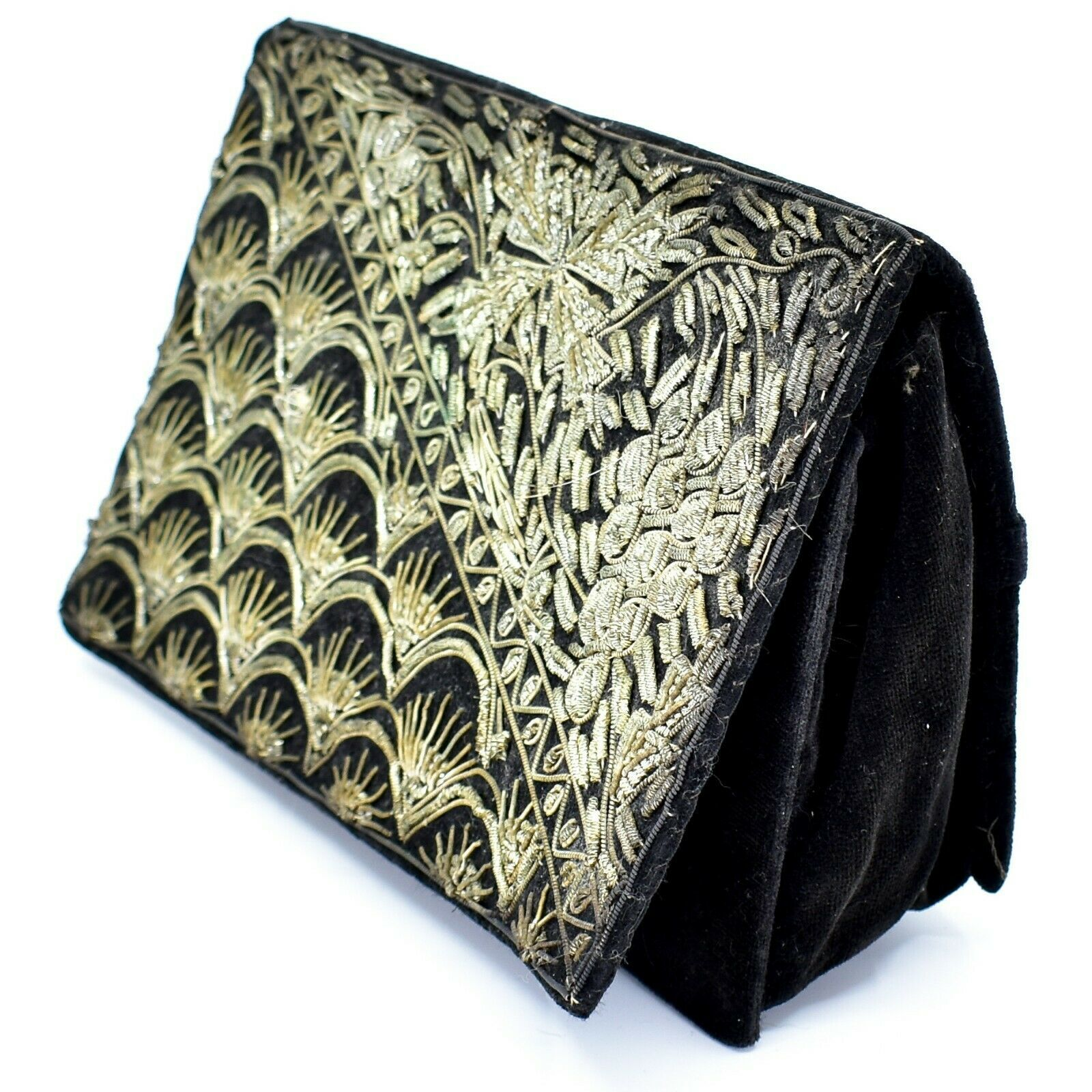 Vintage Black Velvet Gold Metallic Embroidered Purse Clutch Handmade in India
